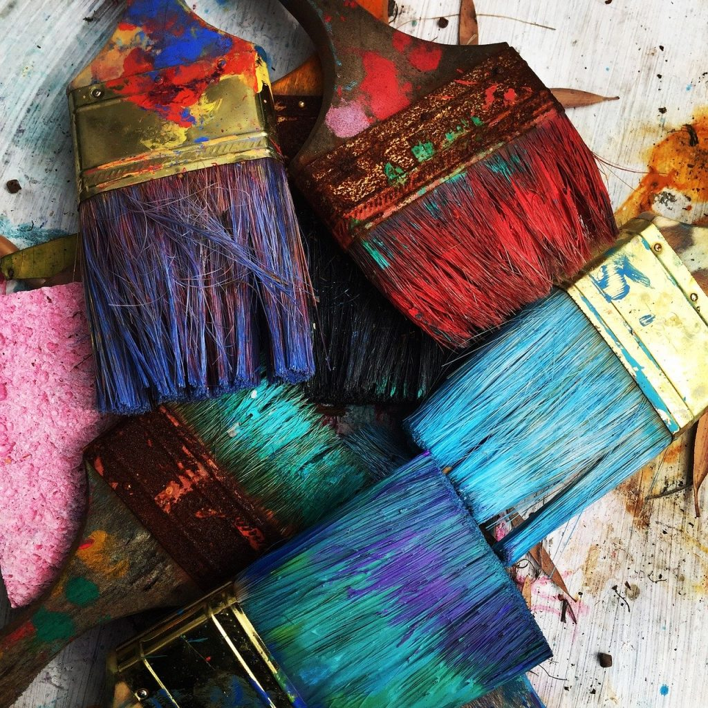 art, brushes, colorful